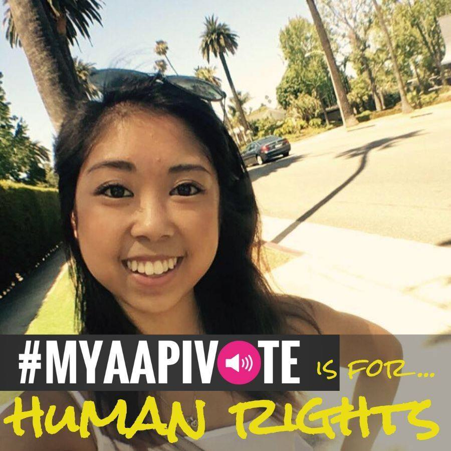 Selfie of an Asian woman smiling with #MyAAPIVote is for Human Rights written at the bottom