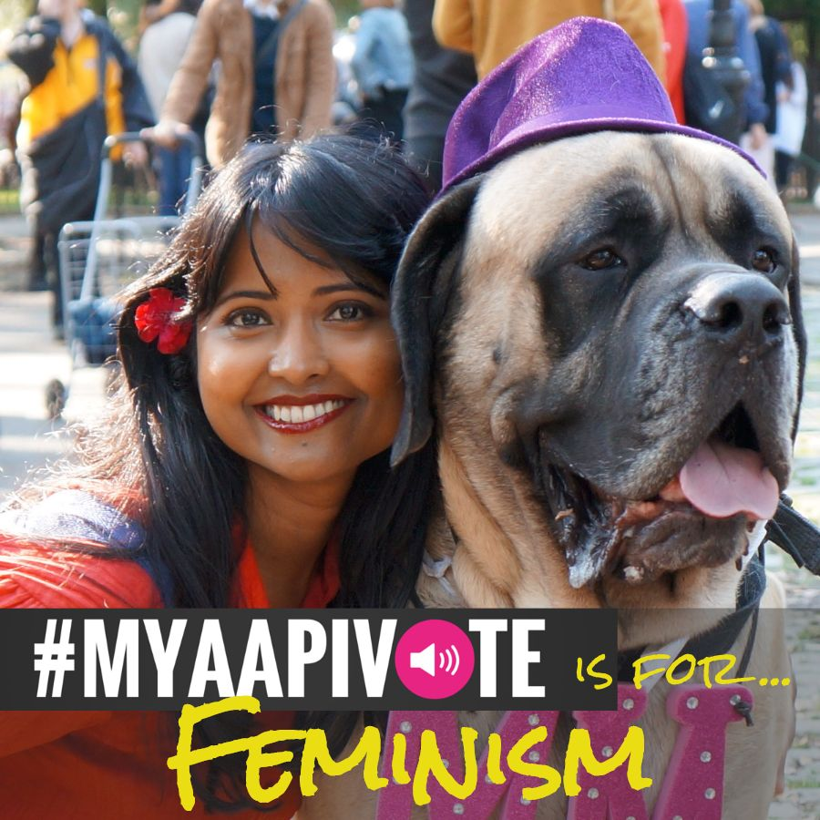 An Asian woman with her dog. MYAAPIVOTE is for Feminism is at the bottom of the image.