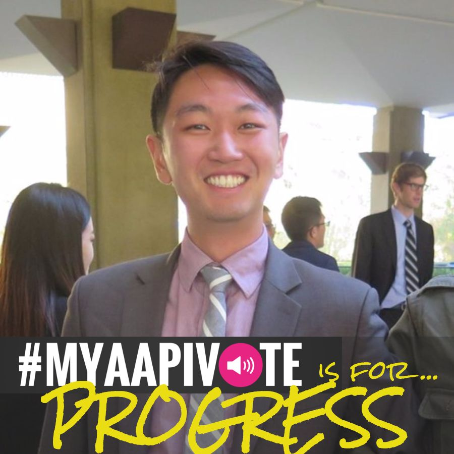 Asian man in a suit and tie smiles. MYAAPIVOTE is for progress is at the bottom of the image.