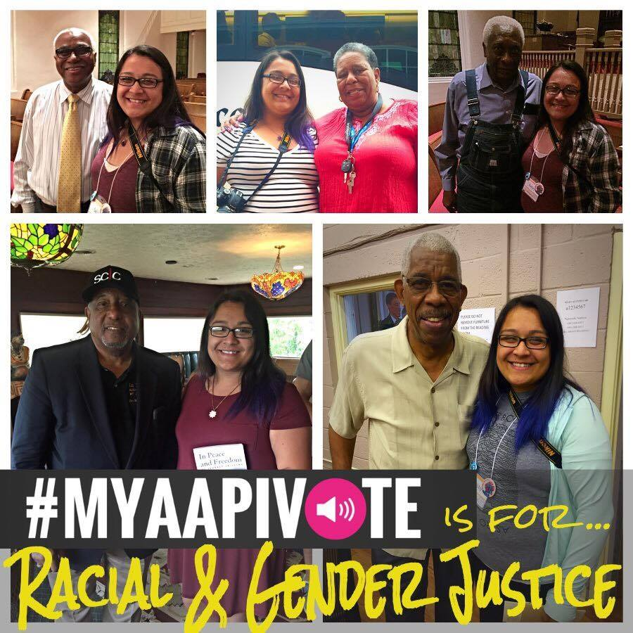 Multiple images of a young Asian woman smiling with other folks of color at events and protests. MYAAPIVOTE is for racial and gender justice is at the bottom of the image.