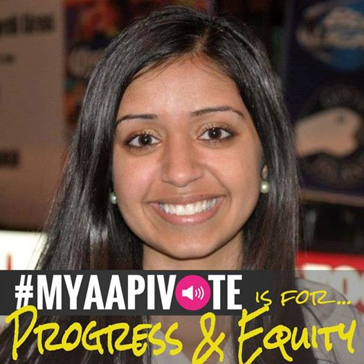 A young Asian woman smiling. MYAAPIVOTE is for progress and equity is at the bottom of the image.